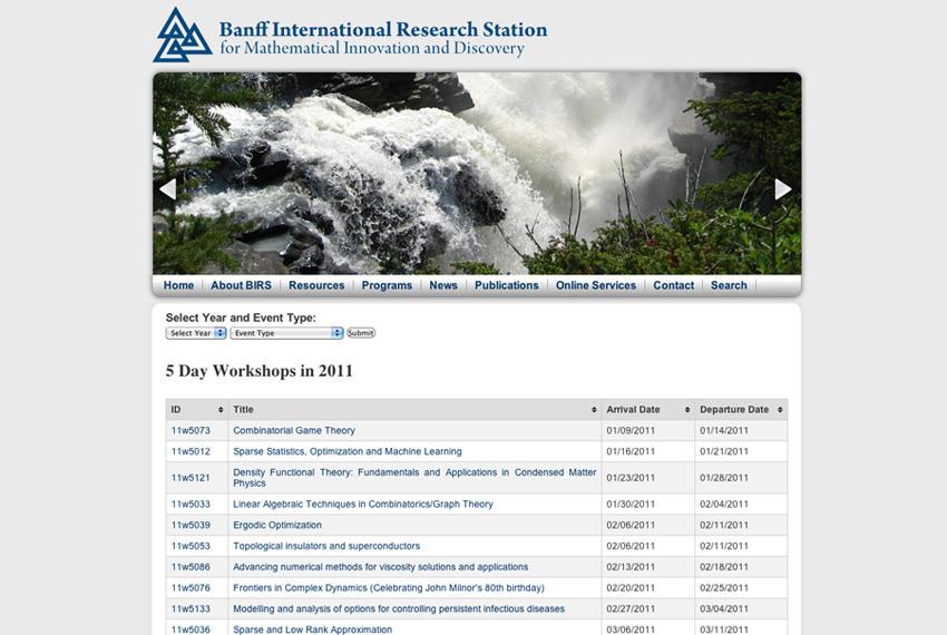 BIRS: Programs page (2010)